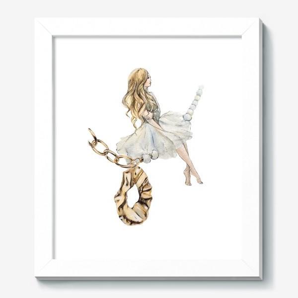 Картина «Fashion Воздушная Девушка украшения золото»