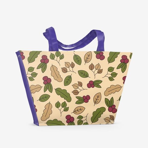 Пляжная сумка «Осенний паттерн - Рябина»
