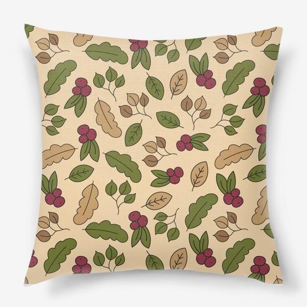 Подушка «Осенний паттерн - Рябина»