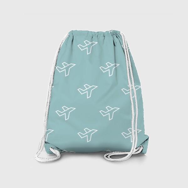 Рюкзак «Паттерн - Самолеты на голубом фоне»