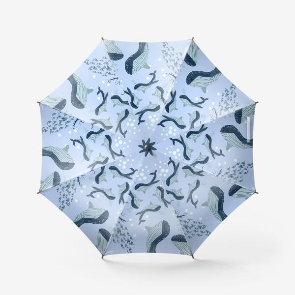 Зонт «Паттерн с китами»