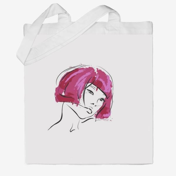 Сумка хб «Fuchsia | Color hair | Fashion cкетч»