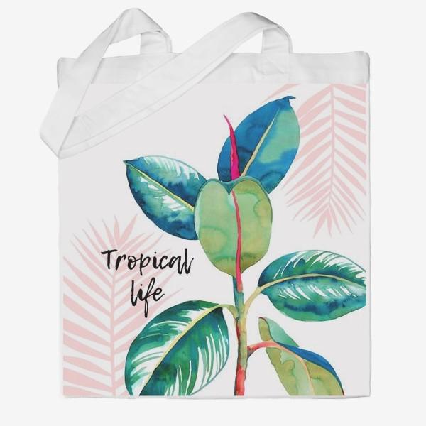 Сумка хб «Тропический принт»