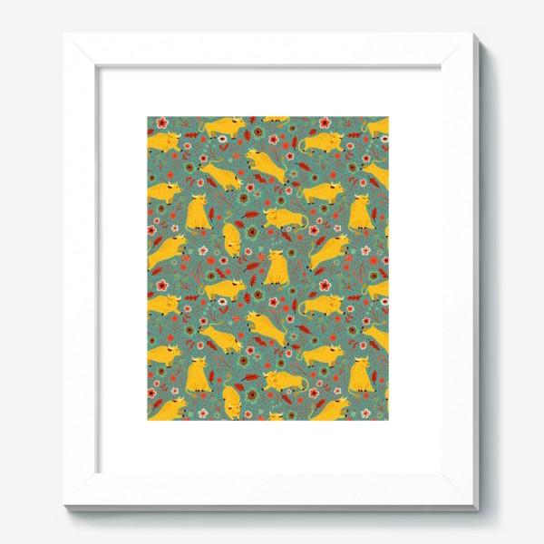 Картина «Жёлтые быки резвятся на лугу в цветах»