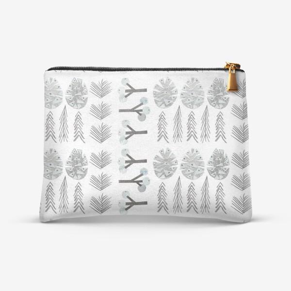 Косметичка «Зимний лесной паттерн 2 (шишки, елки, ветки)»