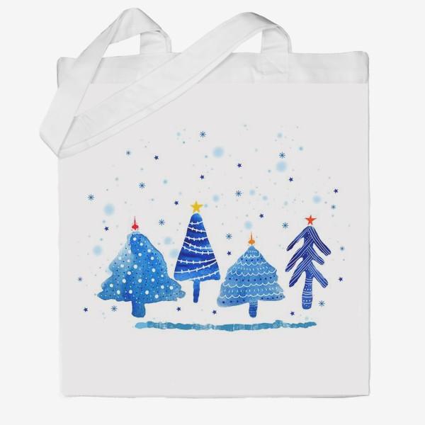 Сумка хб «Зимние новогодние елки»