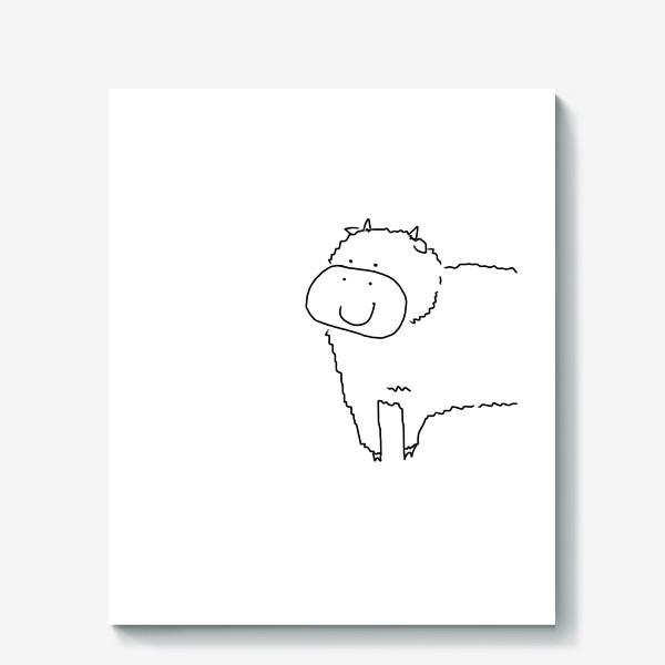 Холст «Улыбка бычка. Год быка 2021. новый год»