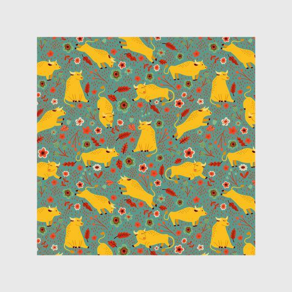 Шторы «Жёлтые быки резвятся на лугу в цветах»