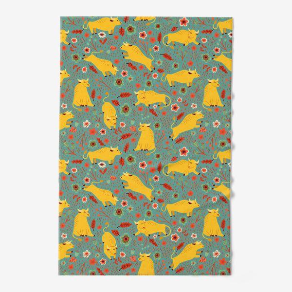 Полотенце «Жёлтые быки резвятся на лугу в цветах»