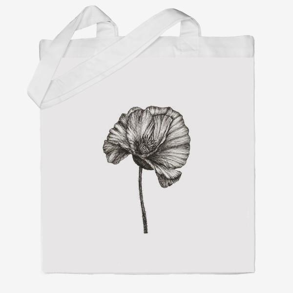 Сумка хб «Цветок мака графика»