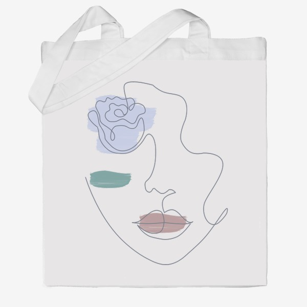 Сумка хб «Девушка роза 3. Непрерывная линия»