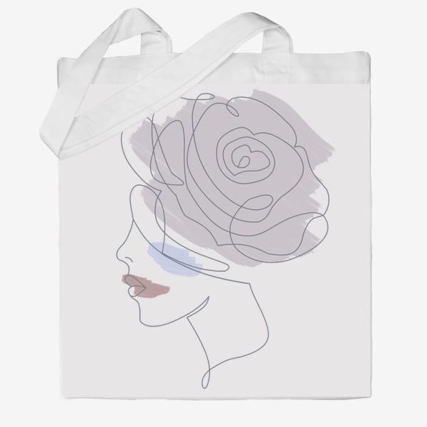 Сумка хб «Девушка роза 2. Непрерывная линия»