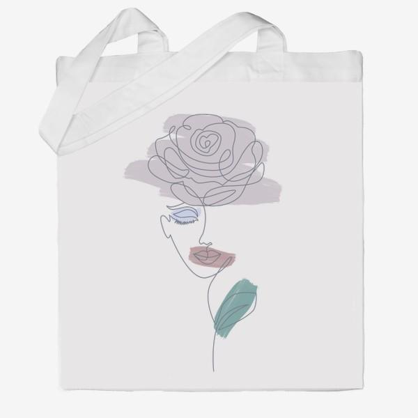 Сумка хб «Девушка роза. Непрерывная линия»