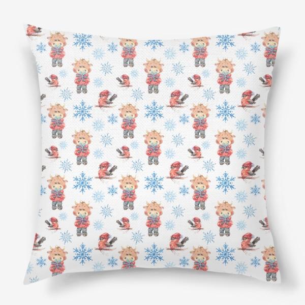 Подушка «Зимние бычки»