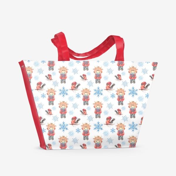 Пляжная сумка «Зимние бычки»