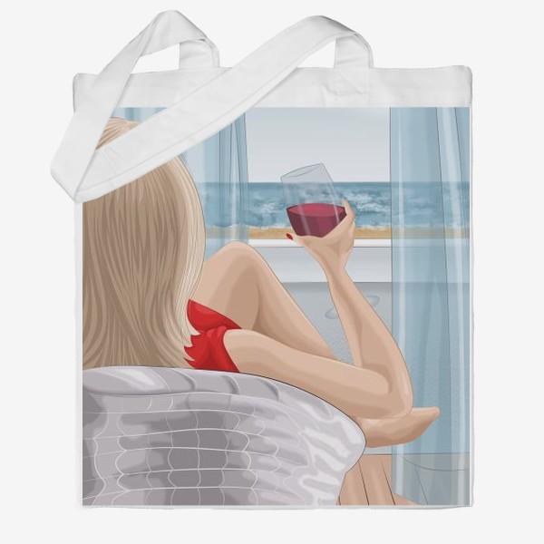 Сумка хб «Девушка с бокалом смотрит на море»