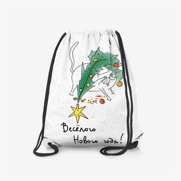 Рюкзак «Кот с елкой. Новогоднее. Веселого нового года»