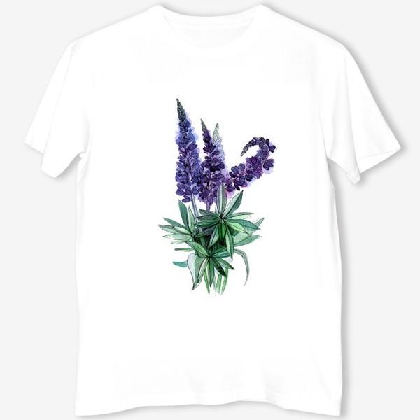 Футболка «Люпины, полевые цветы акварелью»