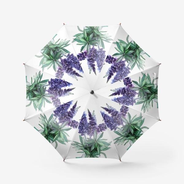 Зонт «Люпины, полевые цветы акварелью»