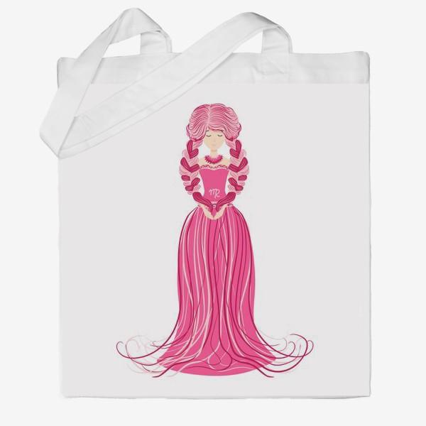 Сумка хб «Знак зодиака Дева, женщина с косами»