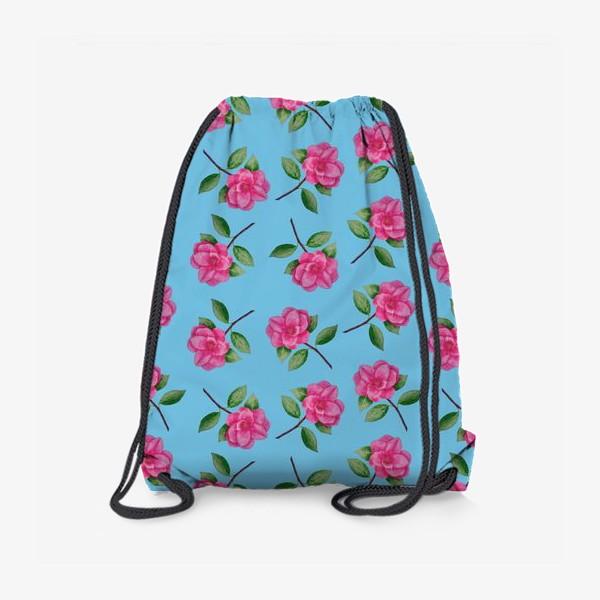 Рюкзак «Камелии на голубом фоне»