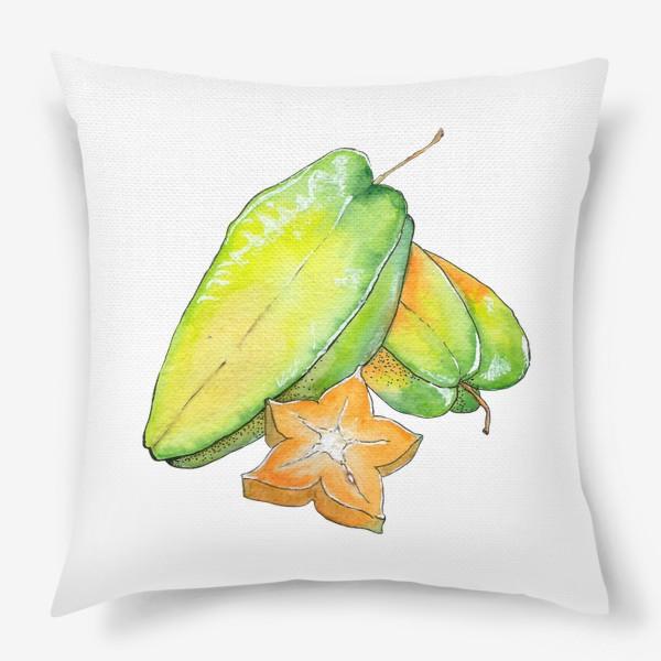 Подушка «Экзотические фрукты - Звездный фрукт, Карамбола»