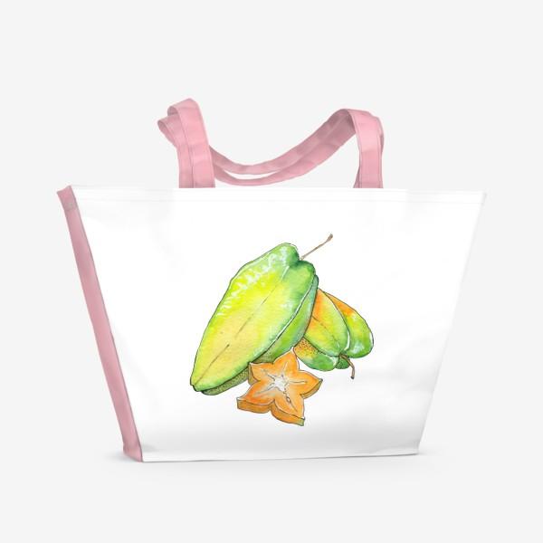 Пляжная сумка «Экзотические фрукты - Звездный фрукт, Карамбола»