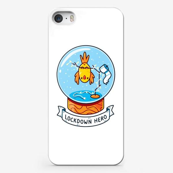 Чехол iPhone «Герой Карантина / Снежный Шар с Попугаем, Гирляндой и Туалетной Бумагой Внутри»