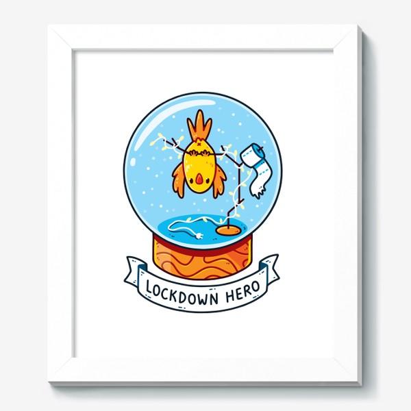 Картина «Герой Карантина / Снежный Шар с Попугаем, Гирляндой и Туалетной Бумагой Внутри»