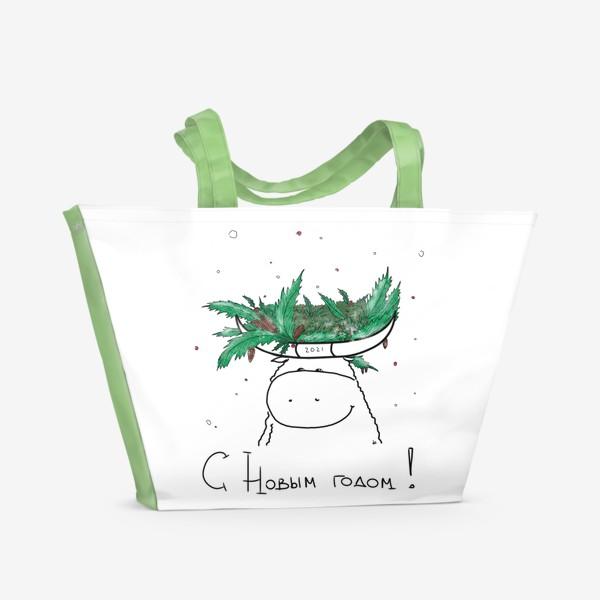 Пляжная сумка «С новым годом! Рождественский бык. 2021 год»