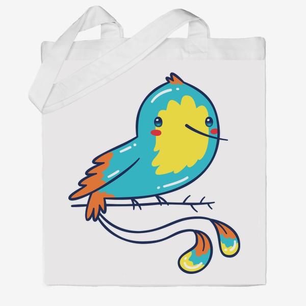 Сумка хб «Кавайная Голубая Птичка Колибри»