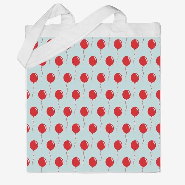 Сумка хб «Красные воздушные шарики на веревке на голубом фоне»