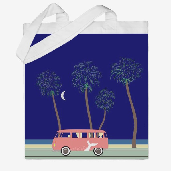 Сумка хб «Ретро автобус на побережье, пальмы, луна, лето»