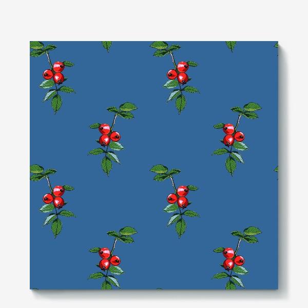 Холст «Красные ягоды шиповника на синем фоне. Яркие плоды на ветке с зелеными листьями»
