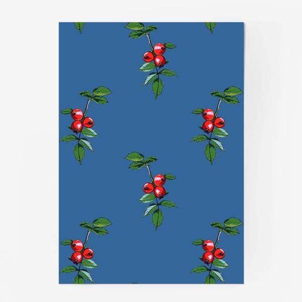 Постер «Красные ягоды шиповника на синем фоне. Яркие плоды на ветке с зелеными листьями»
