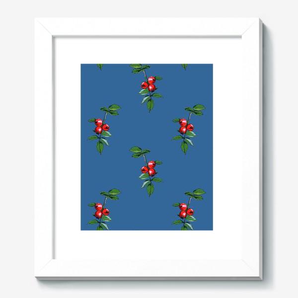 Картина «Красные ягоды шиповника на синем фоне. Яркие плоды на ветке с зелеными листьями»