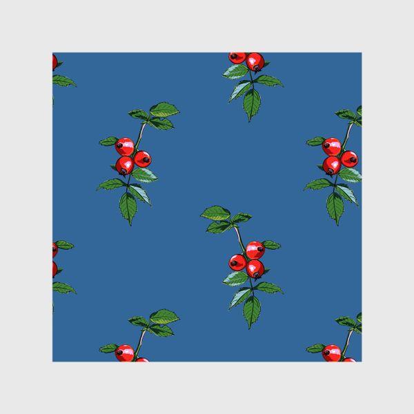 Шторы «Красные ягоды шиповника на синем фоне. Яркие плоды на ветке с зелеными листьями»
