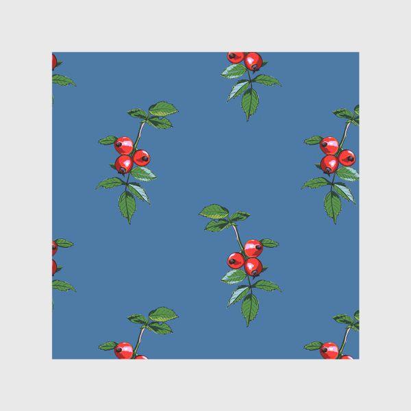 Скатерть «Красные ягоды шиповника на синем фоне. Яркие плоды на ветке с зелеными листьями»