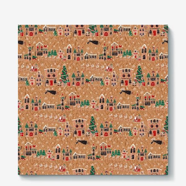 Холст «Рождественская ночь в городке, нарисованном на крафт бумаге - паттерн»