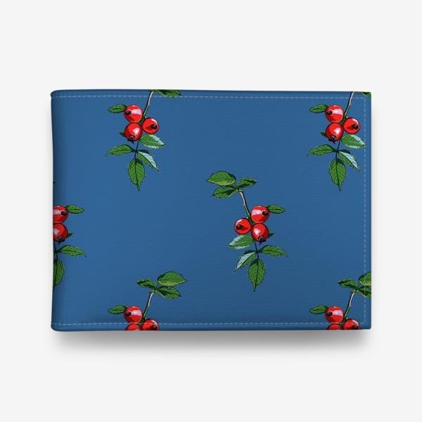Кошелек «Красные ягоды шиповника на синем фоне. Яркие плоды на ветке с зелеными листьями»