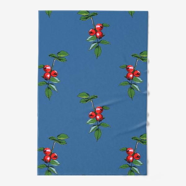 Полотенце «Красные ягоды шиповника на синем фоне. Яркие плоды на ветке с зелеными листьями»