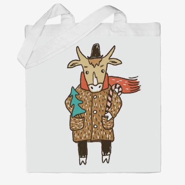 Сумка хб «Бык в пальто и шляпе с ёлкой цветной»