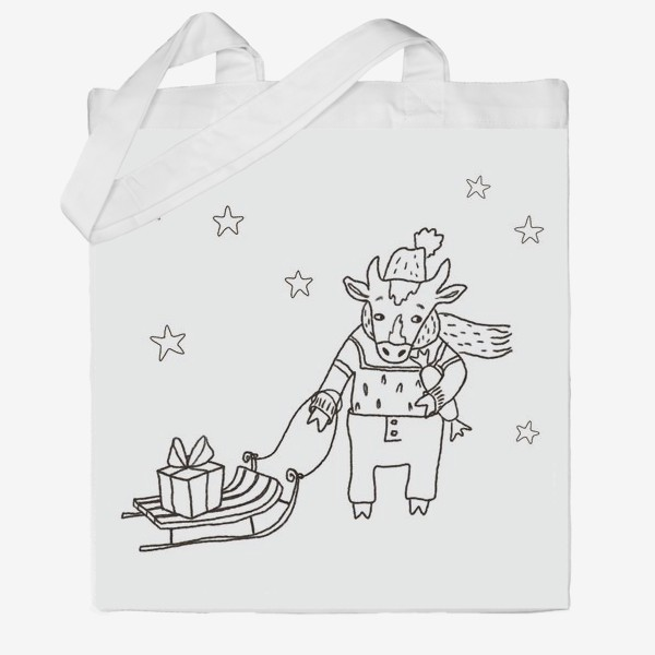 Сумка хб «Бык с санками и подарками, в шапке, свитере и штанах. Новогодний символ.»
