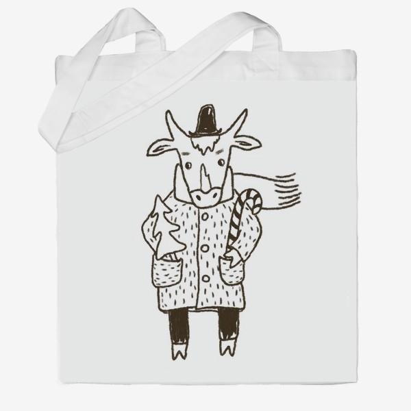 Сумка хб «Бык в пальто и шляпе с ёлкой»