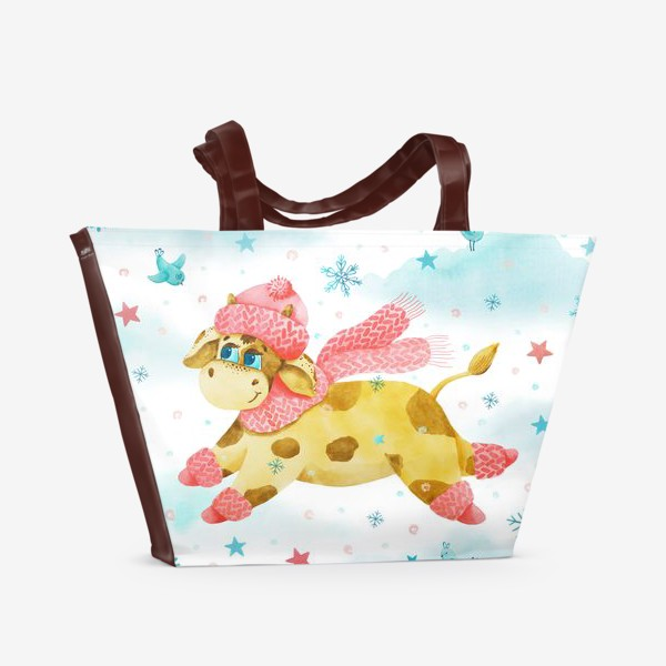 Пляжная сумка «Новогодняя сказка. Бык, символ 2021 года. »