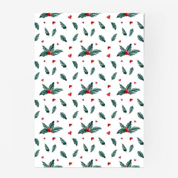 Постер «Остролист паттерн новый год рождество»
