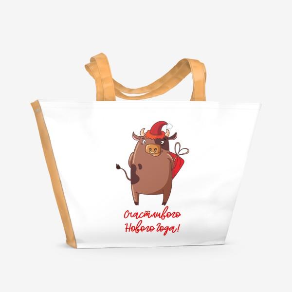 Пляжная сумка «Счастливого Нового Года быка!»