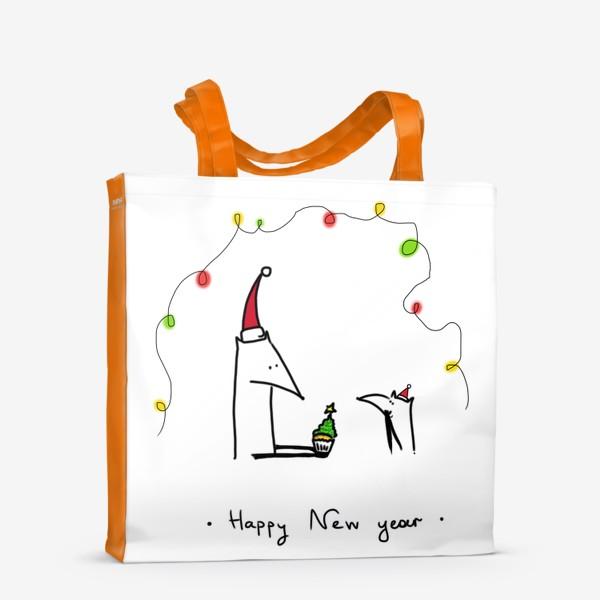 Сумка-шоппер «Лисички празднуют Новый год»