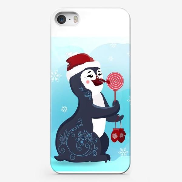 Чехол iPhone «Новогодний пингвин с леденцом и красными варежками.»