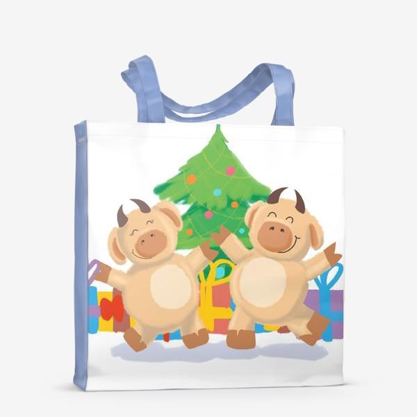 Сумка-шоппер «Бык и корова танцуют у елки с подарками. Новый год. Праздник. Дижитал арт.»